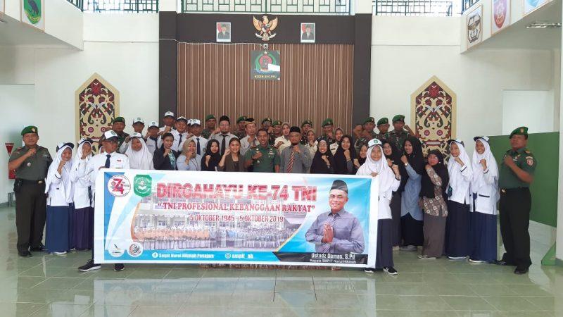 Dandim 0913/PPU Terkejut Dan Haru, Puluhan Siswa SMPIT Nurul Hikmah Bawakan Kue HUT TNI ke 74