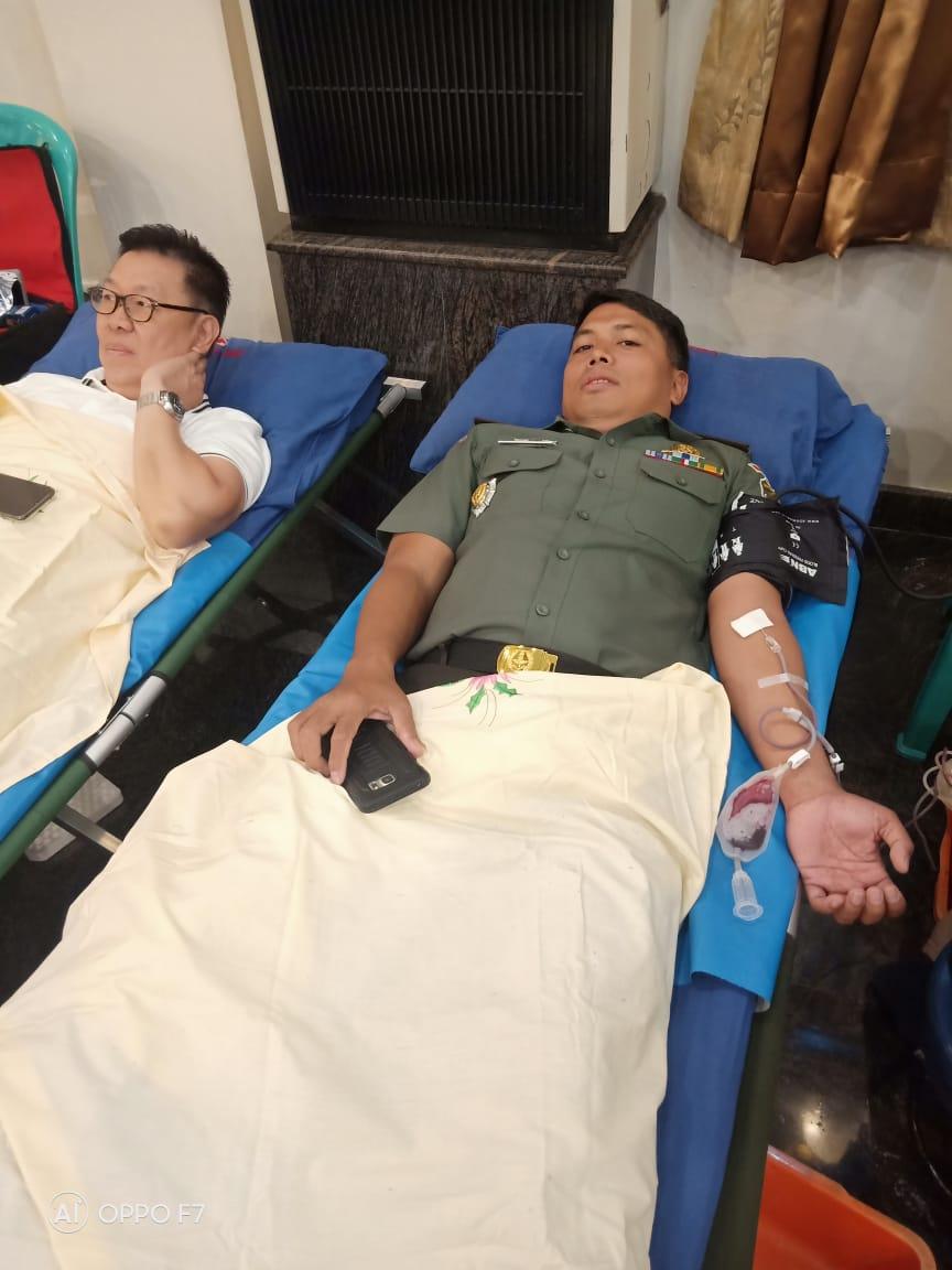 Peduli Sesama Kodim 0501/ Jakarta Pusat BS Bersama Yayasan Sri Satya Sai Baba Selenggarakan Donor Darah