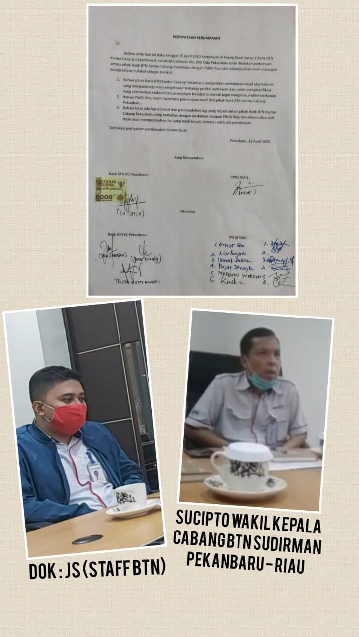Melalui PWOI Riau Bank BTN Sampaikan Permintaan Maaf