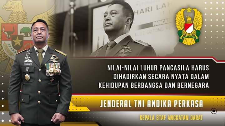 Kasad Jenderal TNI Andika Perkasa Ikuti Upacara Virtual Peringati Hari Lahir Pancasila