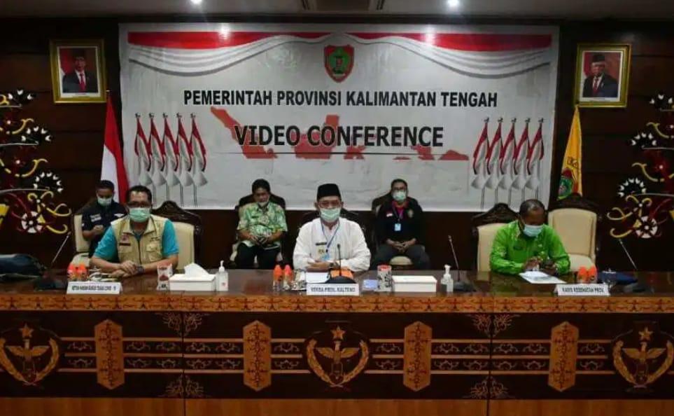 Sekda Kalteng Ikuti Rapat Vicon Bersama Menko PMK