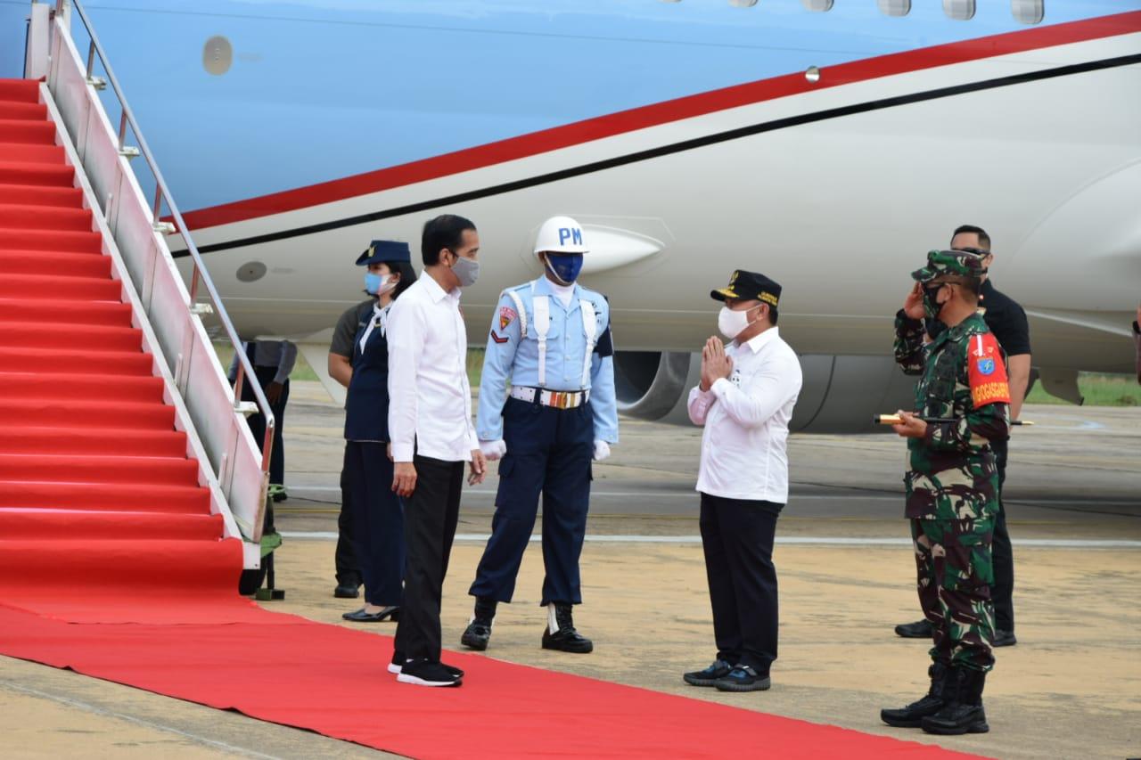 Rombongan Presiden RI Tiba Di bandara Tjilik Riwut Kalteng