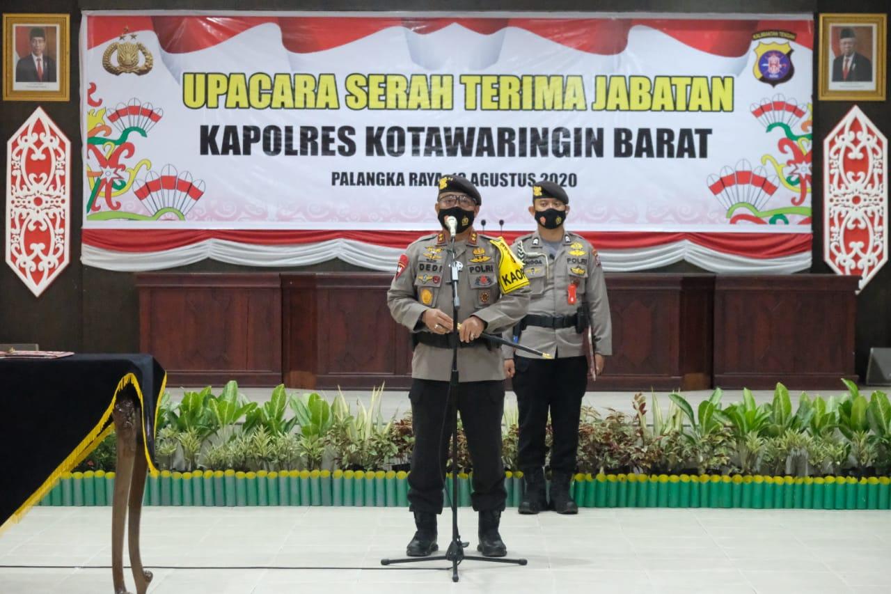 Peroleh Promosi Jabatan, Kapolda Kalteng Pimpin Sertijab Kapolres Kobar
