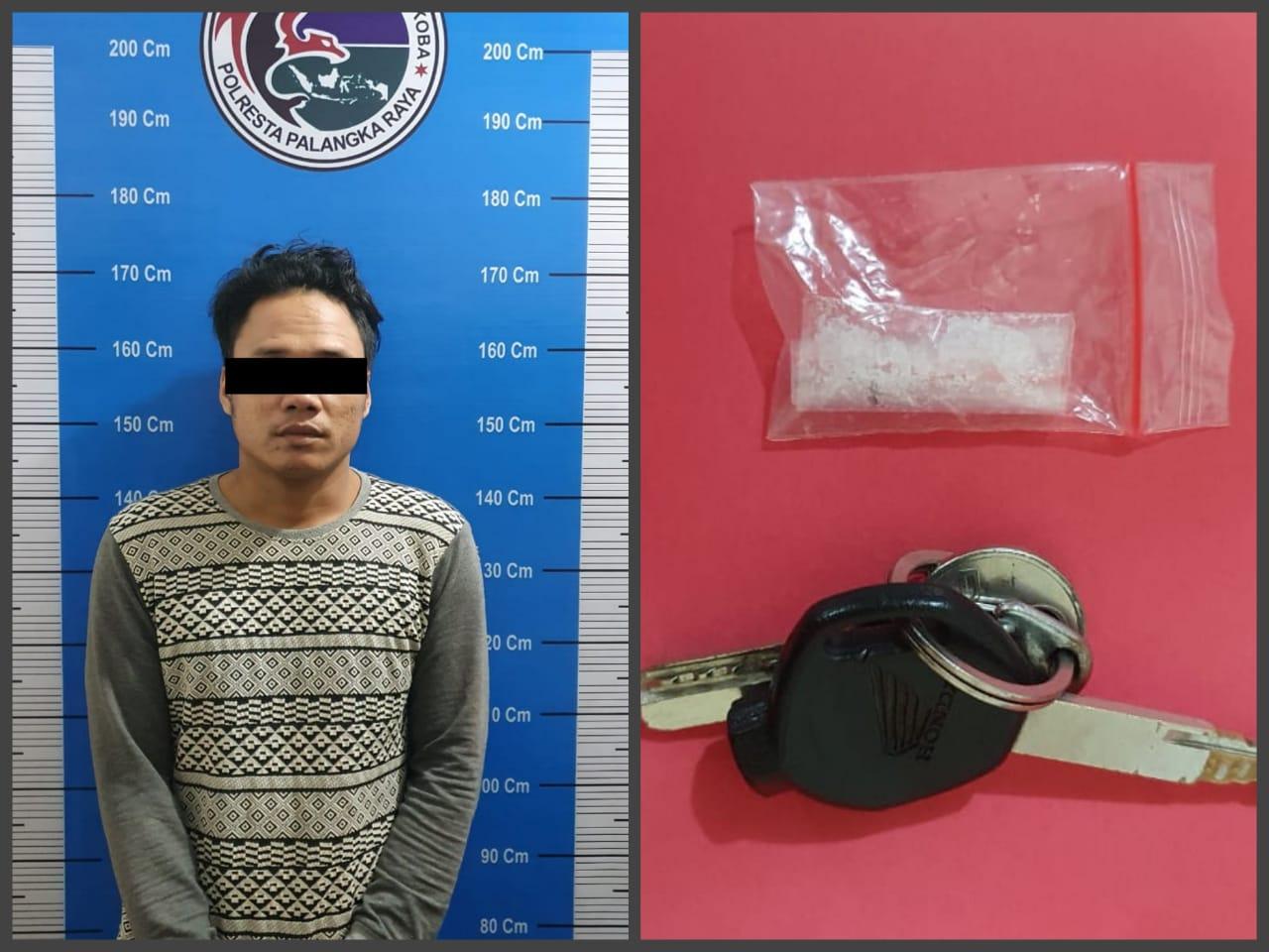 Seorang Pria Diringkus Satresnarkoba Polresta Palangka Raya, Bawa Barang Haram Sabu 0.45 Gram