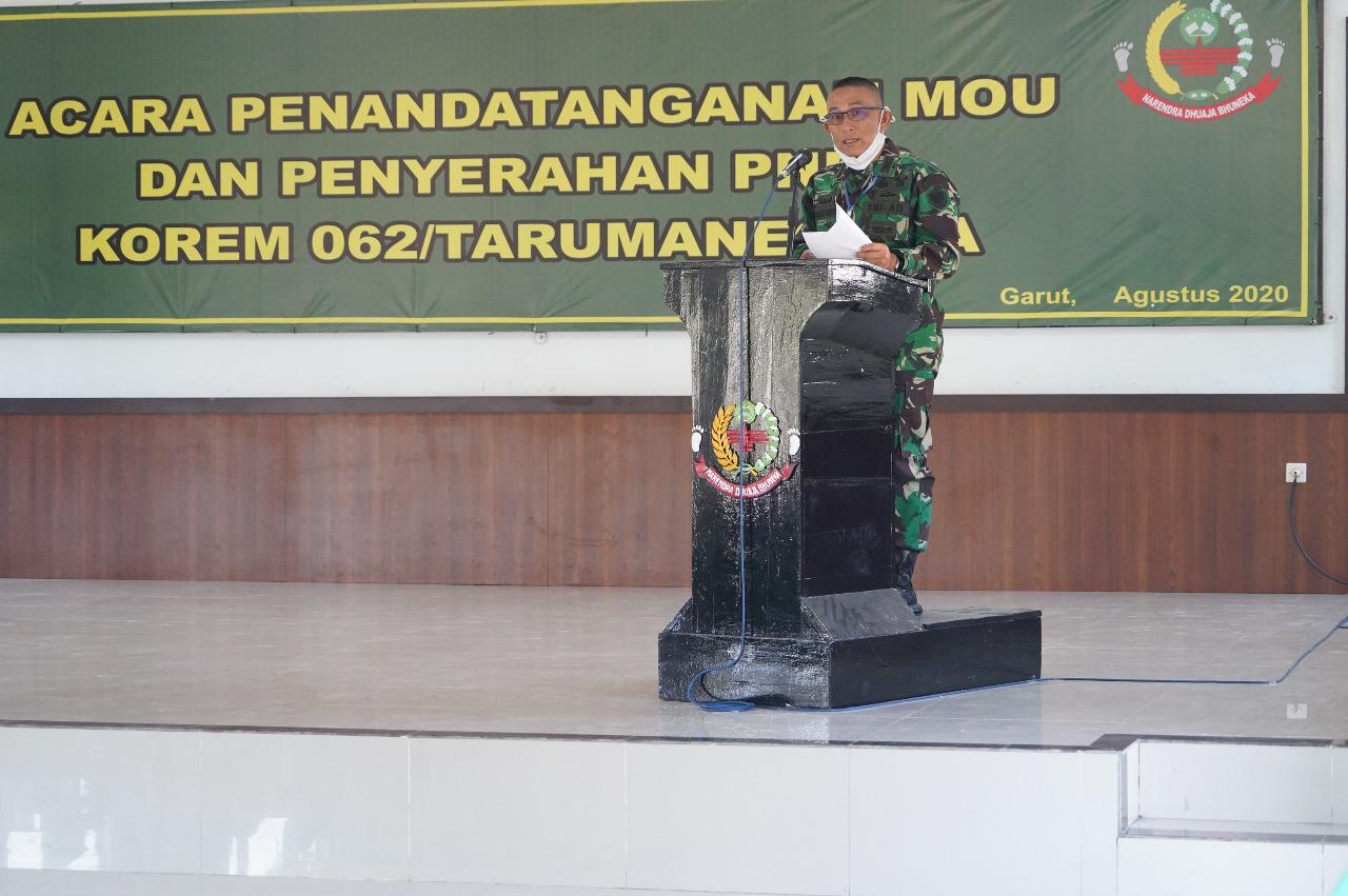 Danrem 062/TN Pimpin Rapat Acara Penandatanganan Memorandum Of Understanding (MoU) Dan Penyerahan Pajak (PNBP) Aset Barang Milik Negara Di Wilayah Korem 062/TN