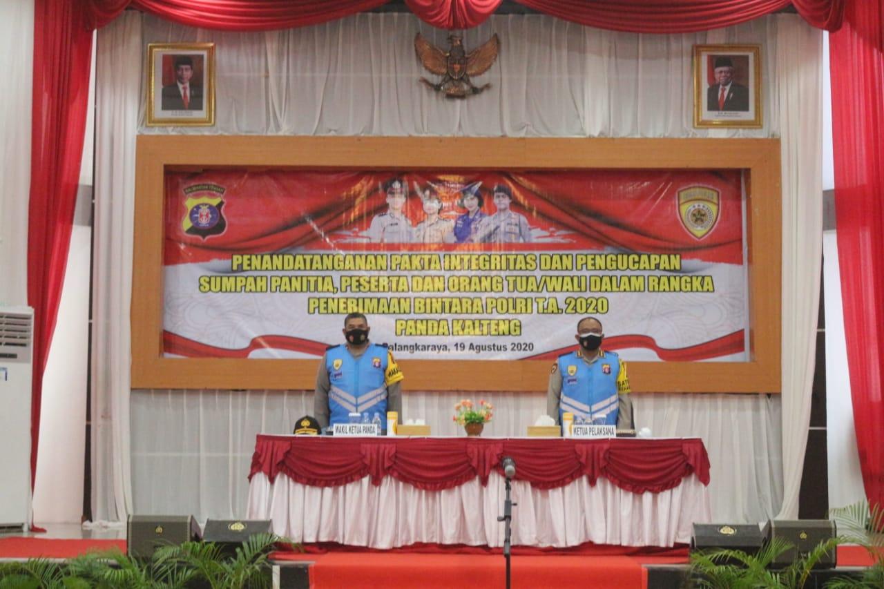 Wakapolda Kalteng Pimpin Pakta Integritas Penerimaan Bintara Polri Tahun Anggaran 2020