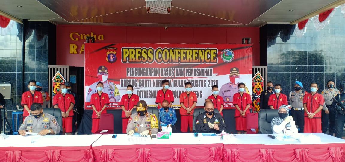 Polda Kalteng Pengungkapan Kasus Narkoba Bulan Agustus 2020.