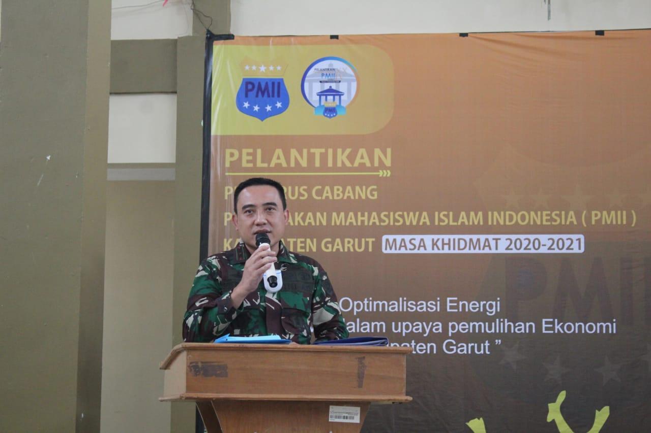 Dandim 0611/Garut menghadiri Pelantikan Pengurus Cabang PMII Kabupaten Garut TA 2020.