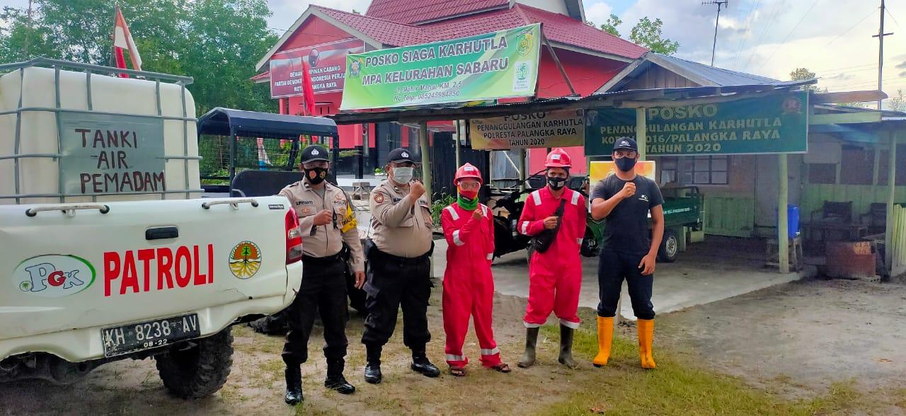 Antisipasi Karhutla, Polsek Sabangau Ajak Masyarakat dan PT. PGK Patroli Bersama