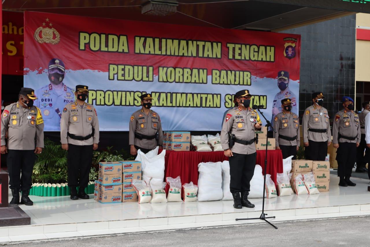 Polda Kalteng Bantu  Kirim Bansos, Tim SAR dan Tim Kesehatan, Kemanusiaan Banjir Kalsel