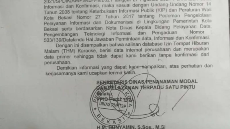 DPMPTSP Bekasi, Kurang Kerjasama Dan Menolak Beri Data THM Berizin