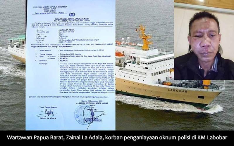 Wartawan Papua Barat Zainal La Adala Dianiaya Oknum Polisi di KM Labobar.