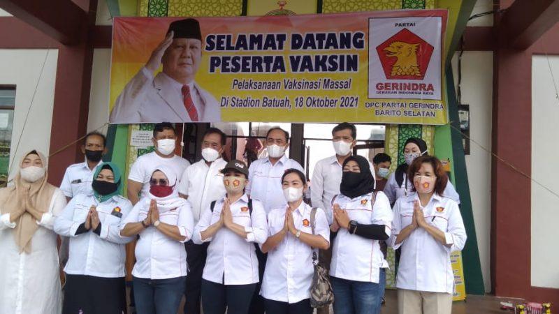 DPC. Partai Gerinda Barsel Laksanakan Kegiatan Vaksinasi di Stadion Batuah Buntok.